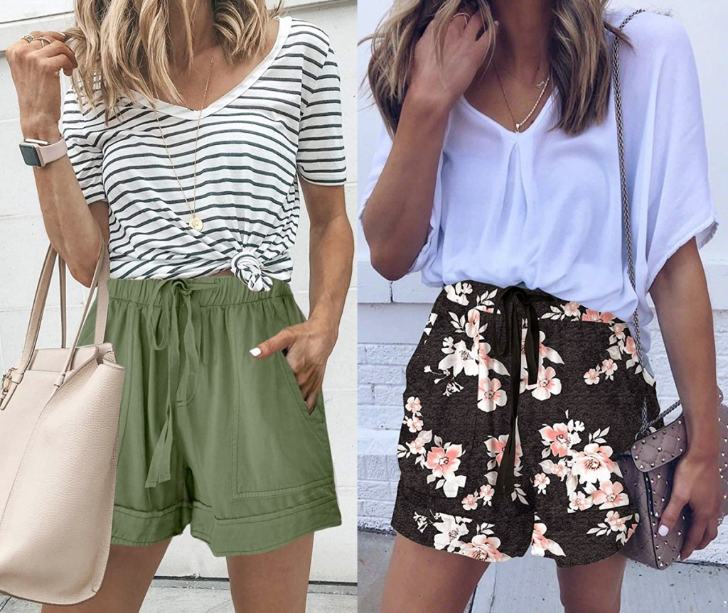 two women modeling loose fitting shorts with pockets in olive green and black with pink and white floral print