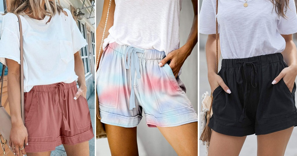 three women modeling loose fitting shorts with pockets in dusty rose, tie dye, and black colors
