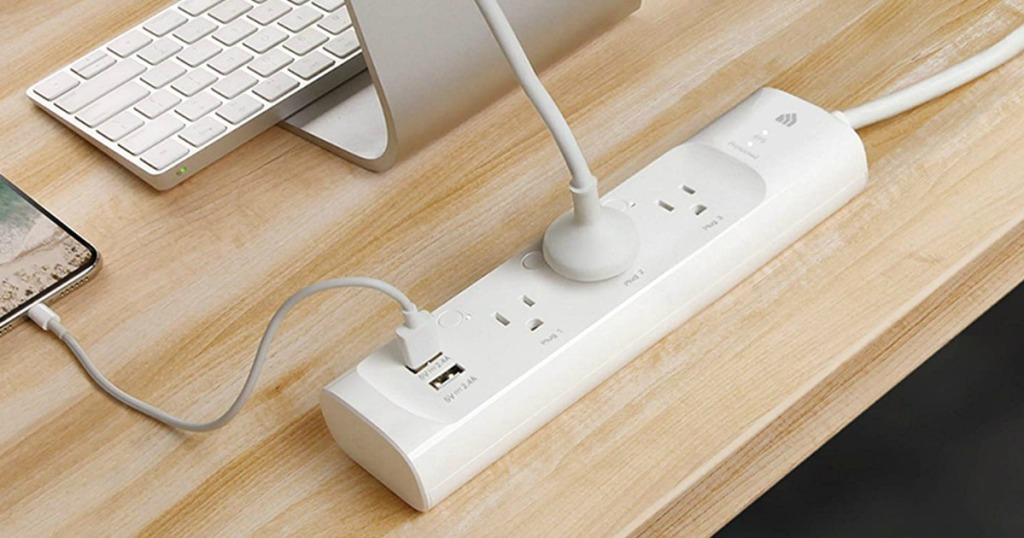 power strip with devices plugged in