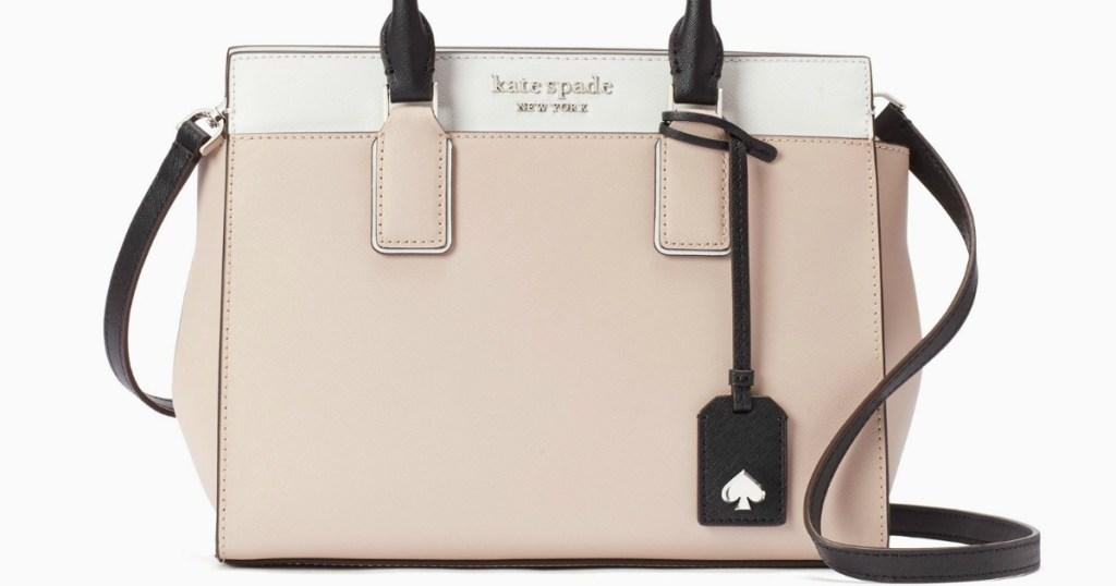 tan, brown and white kate spade purse