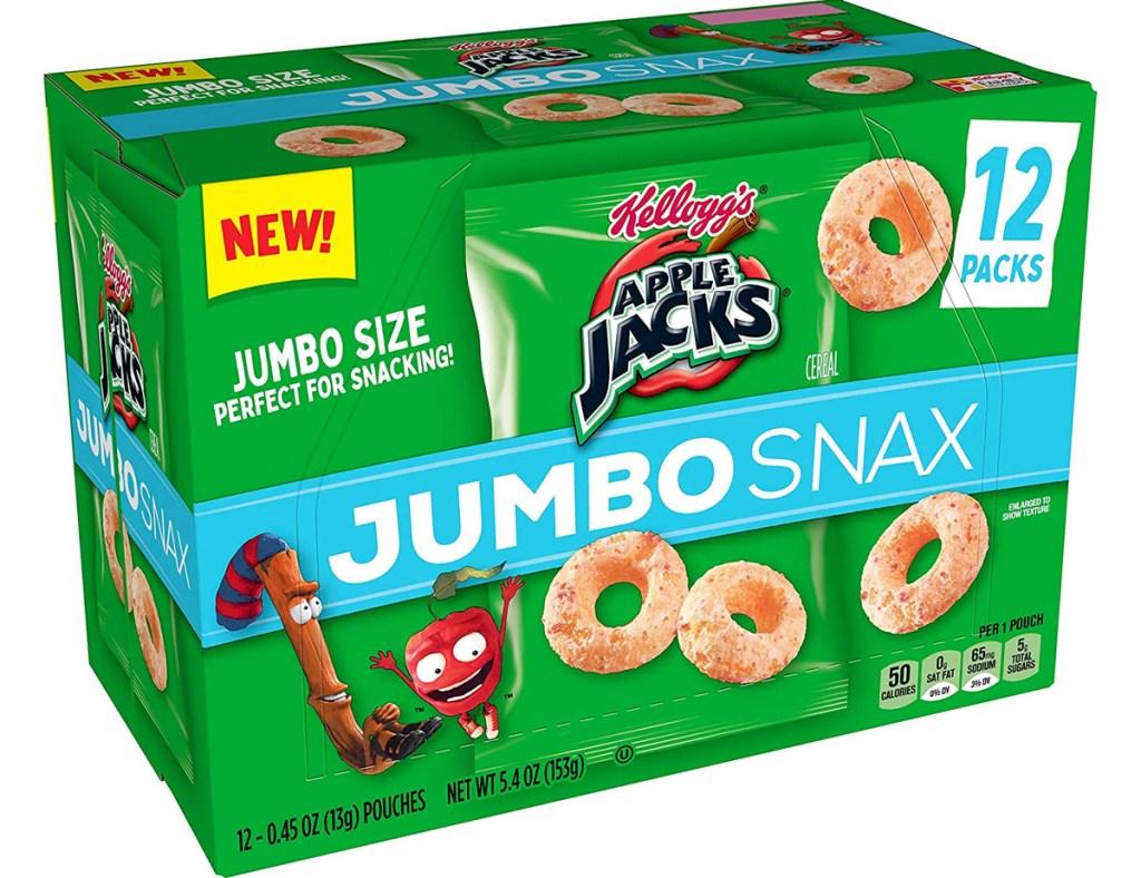 green box of Apple Jacks jumbo snax
