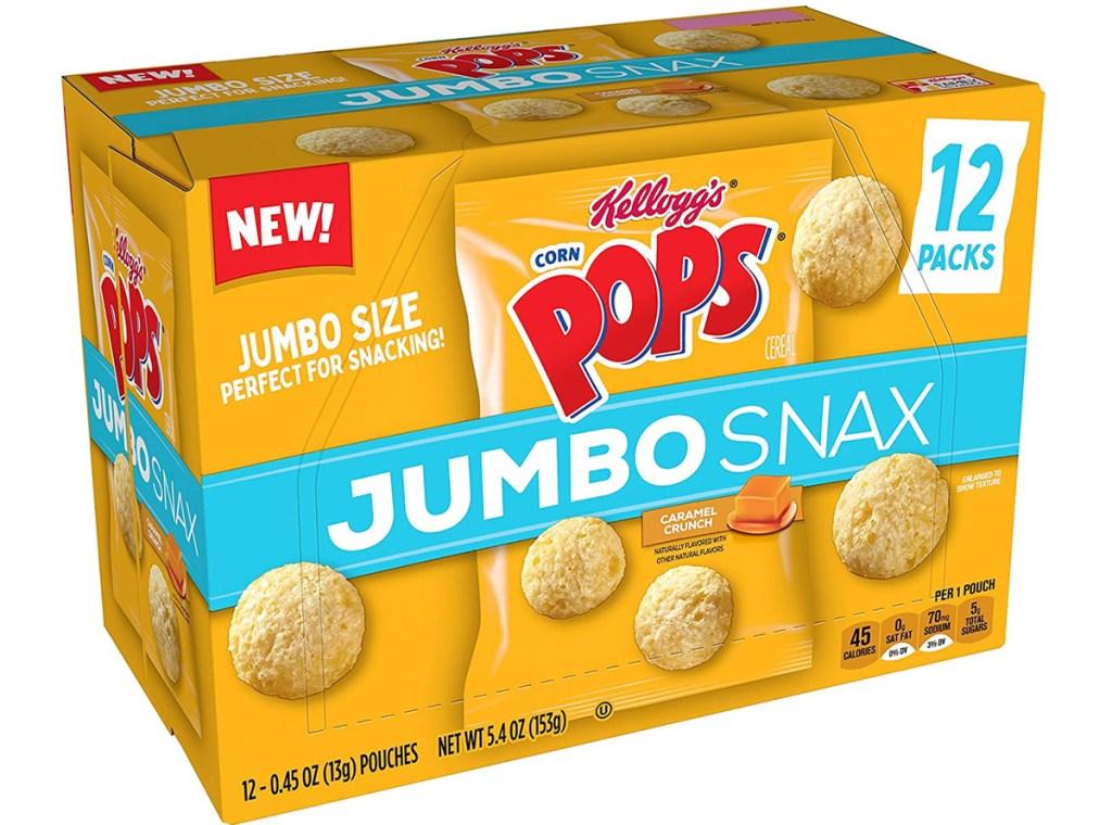 yellow box of Corn Pops jumbo Snax
