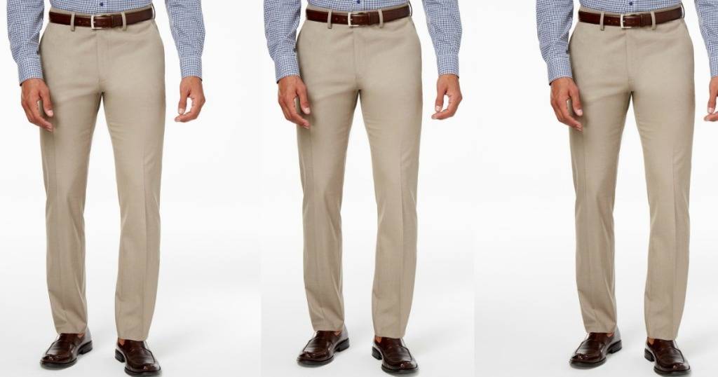 three images of a man in dress pants