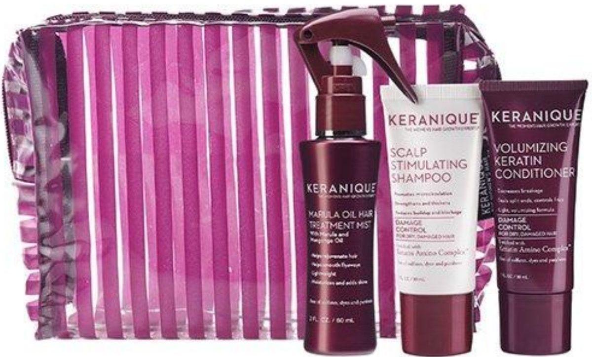 travel kit with shampoo, conditoner, spray and travelbag