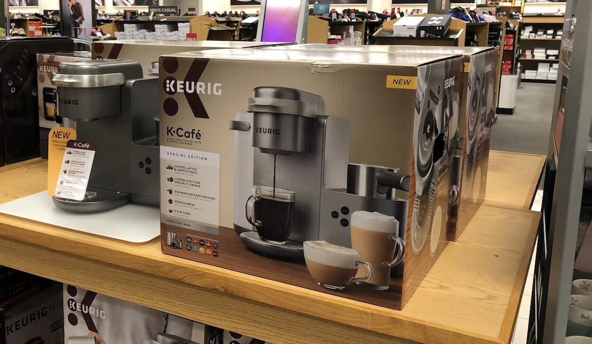 Keurig K-Cafe coffee maker next to box at Kohl's
