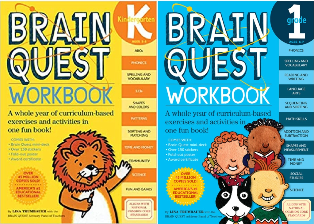 brain quest kindergarten and first grade educational workbook pages