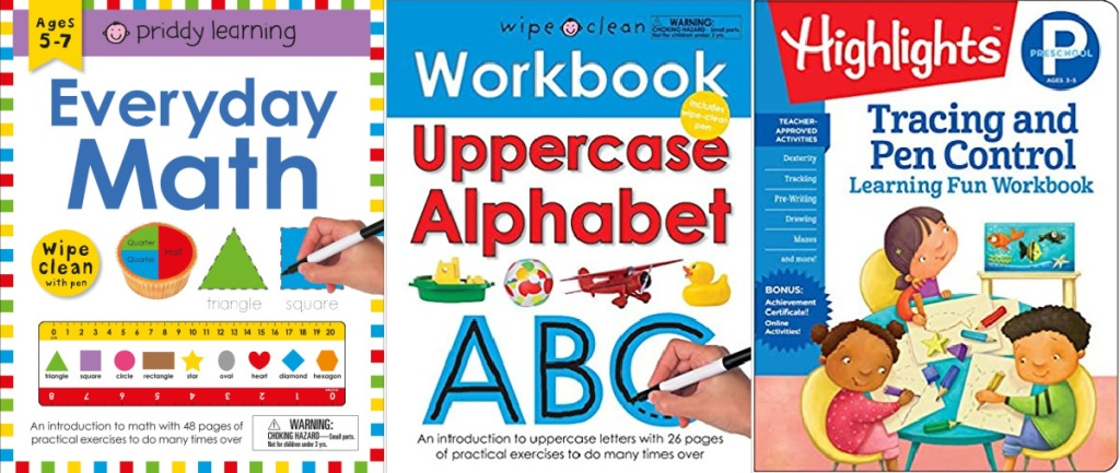 3 children's educational workbooks lined up next to each other