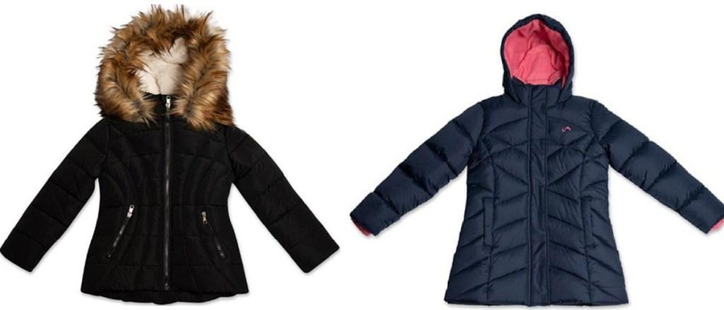 2 girls puffer jackets sitting side by side