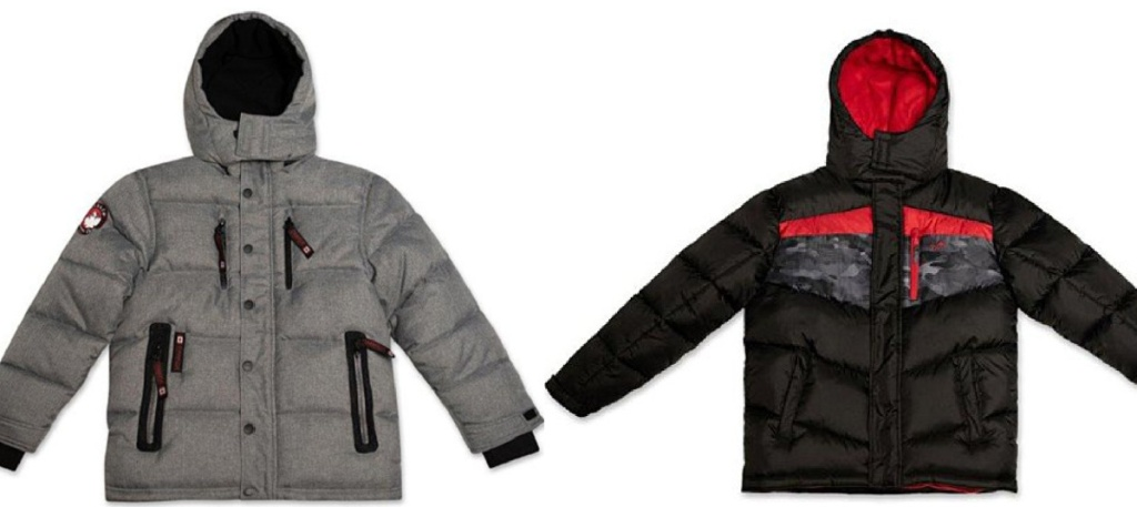 2 boys winter puffer jackets sitting side by side next to each other