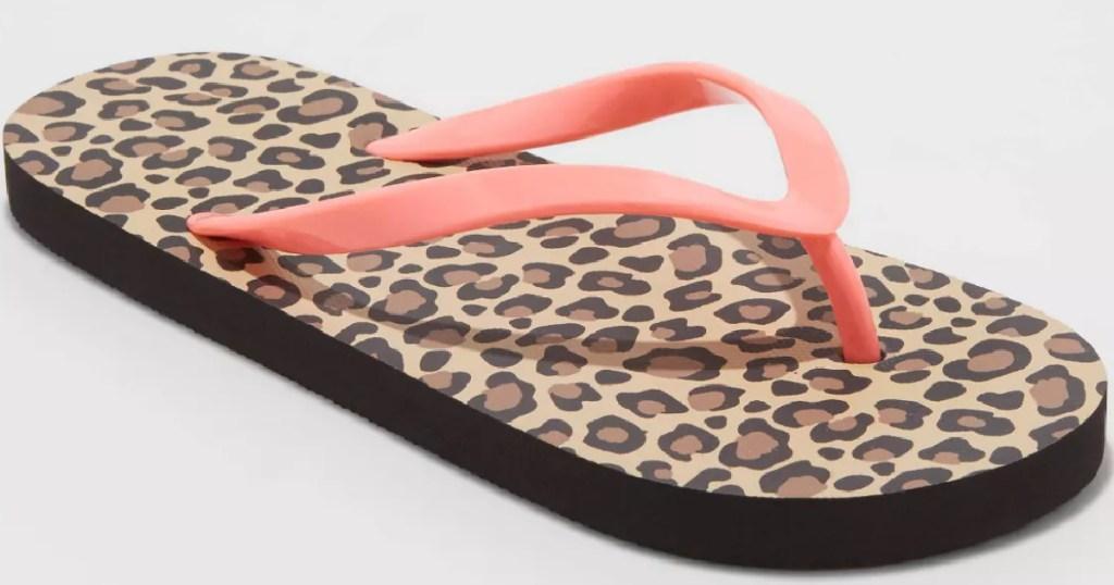 girls cheetah flip flop with pink straps