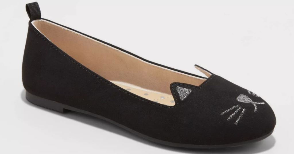 girls black kitty ballet flat shoes
