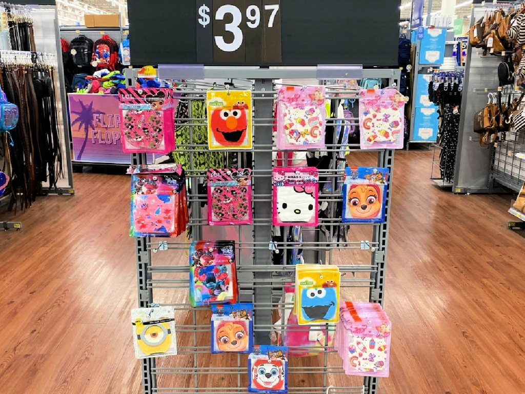 Kid's character face masks on display at Walmart