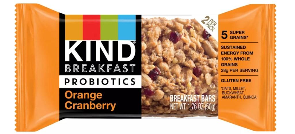 kind orange cranberry probiotic bar