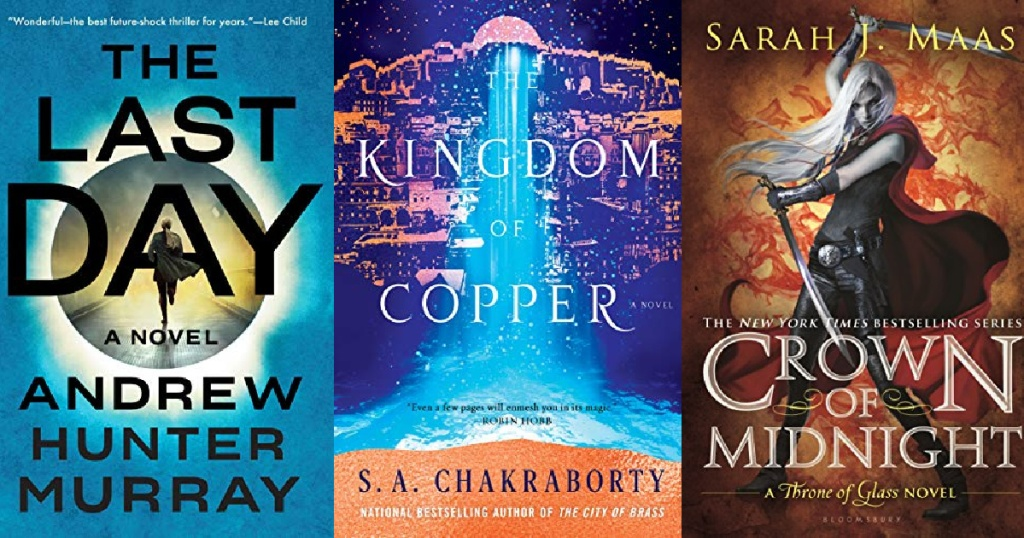 3 sci-fi and fantasy kindle ebook covers lined up next to each other