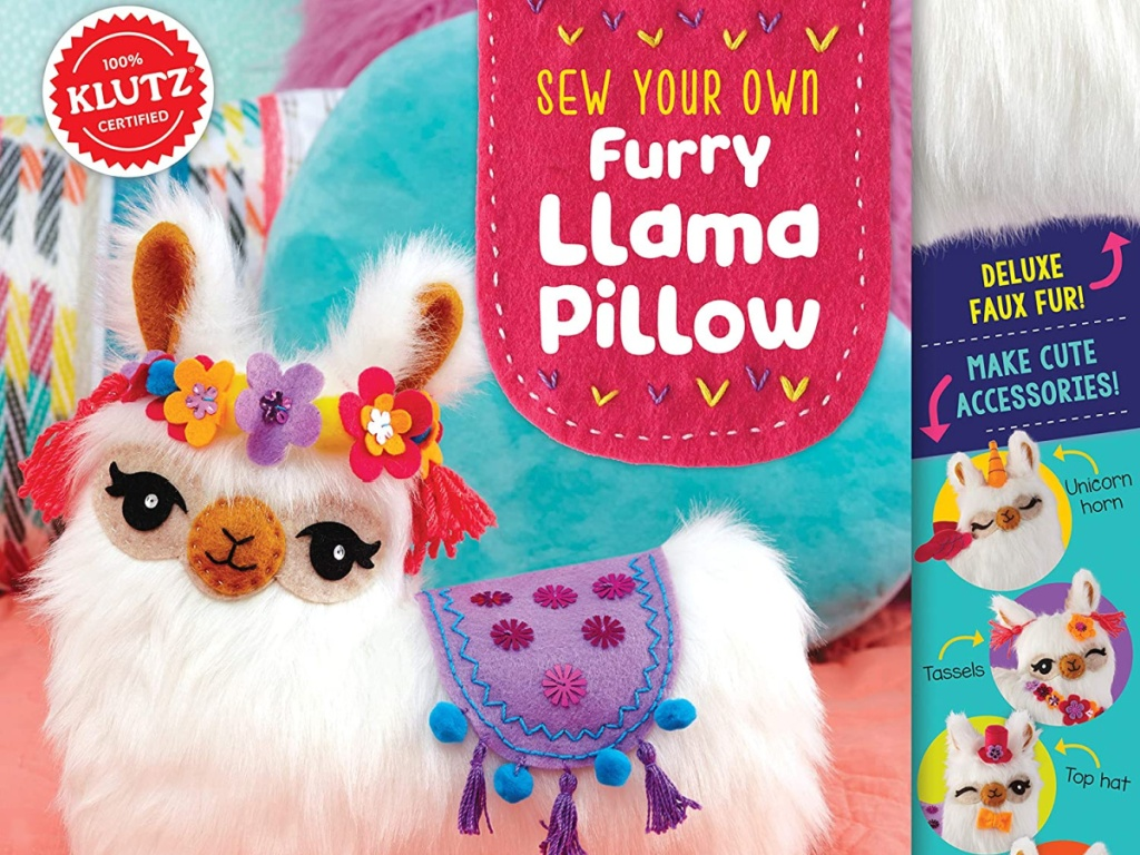 klutz sew your own furry llama pillow sewing craft kit box
