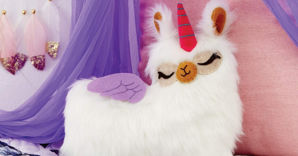 Klutz Sew Your Own Furry Llama Pillow with unicorn horn and purple wings