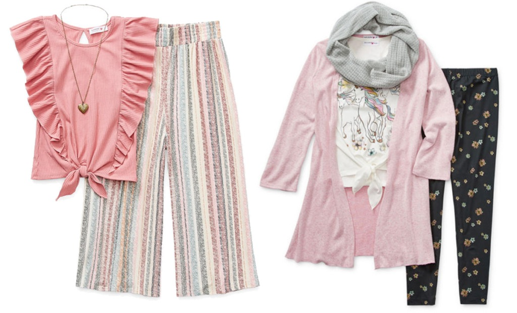 3-piece girls pants, shirts, and accessories sets