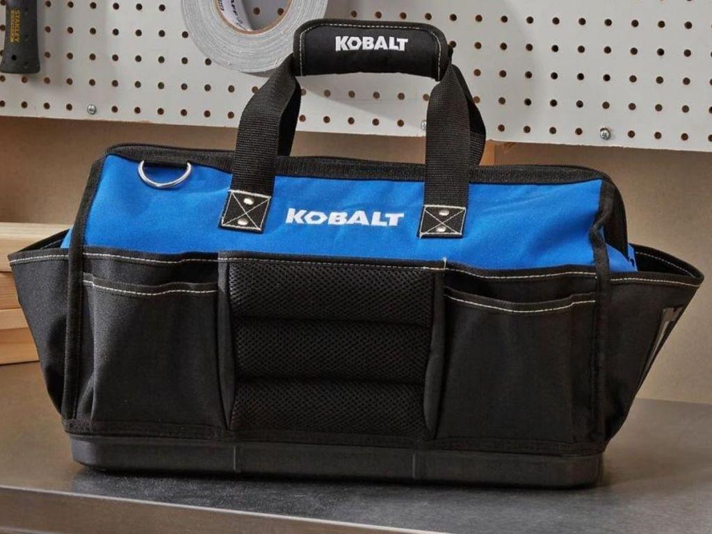 kobalt tool bag on shelf