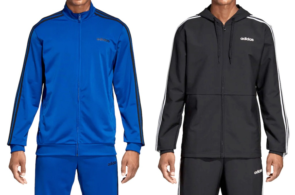 two men modeling blue and black Adidas jackets
