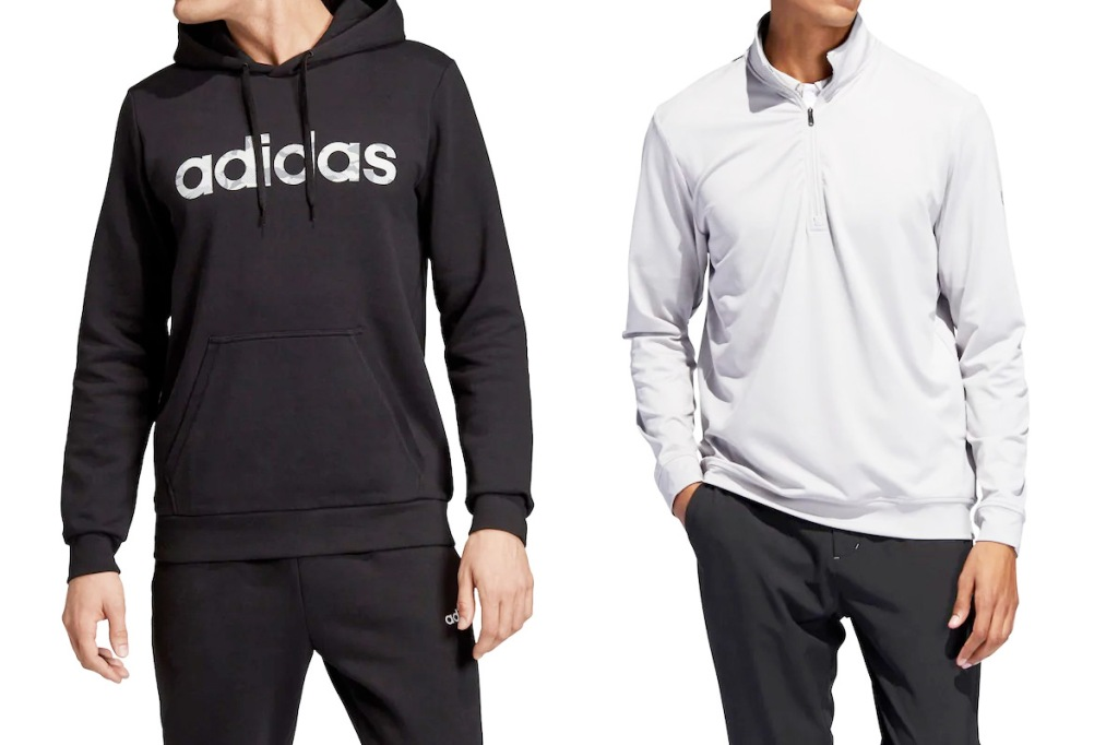 two men modeling Adidas black hoodie with camo print logo on chest and light grey quarter zip pullover