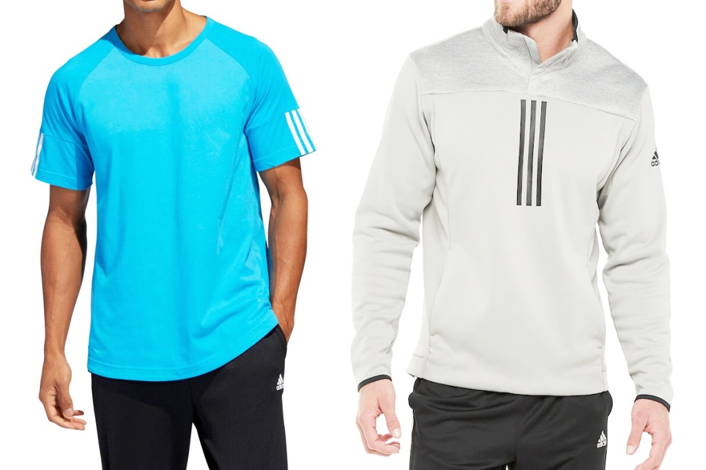 two men modeling bright blue Adidas tee and light grey pullover
