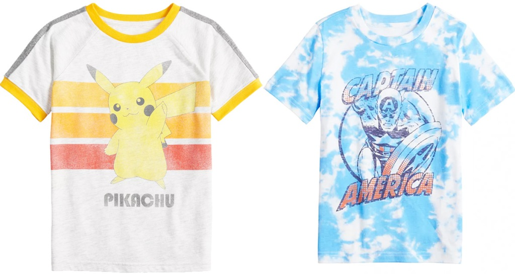 white pokemon grraphic tee and blue and white tie dye captain america tee