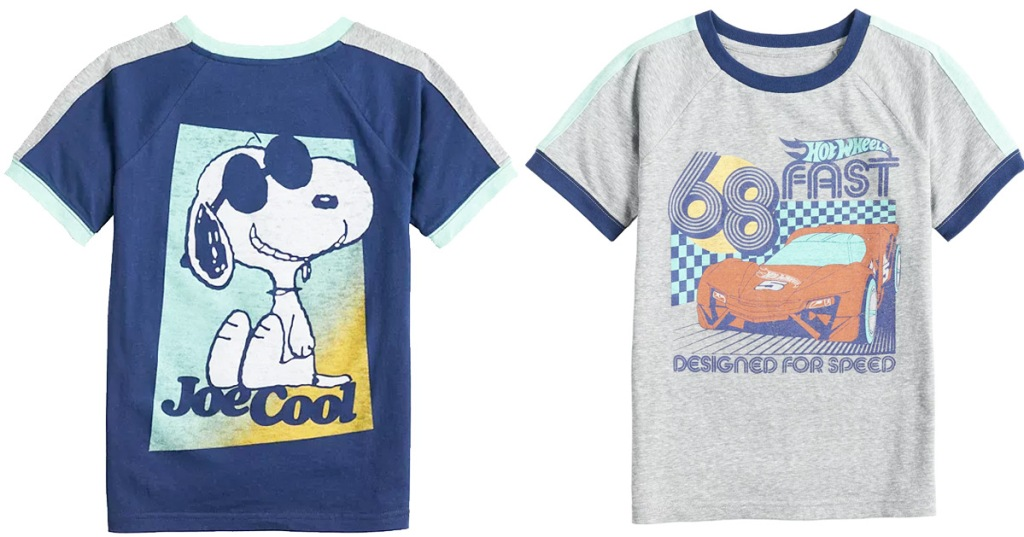 navy blue snoopy graphic tee and grey cars graphic tee