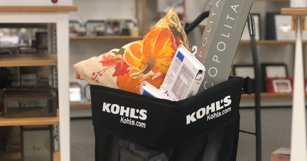black kohl's shopping cart full of home items in store
