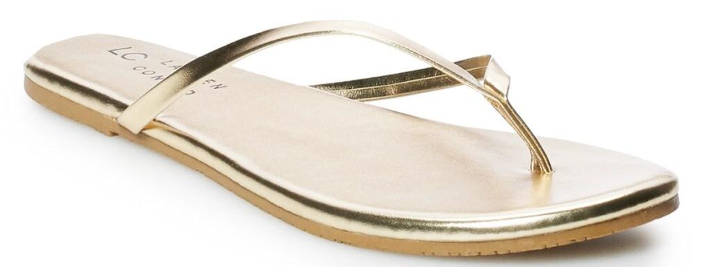 metallic gold women's flip flop