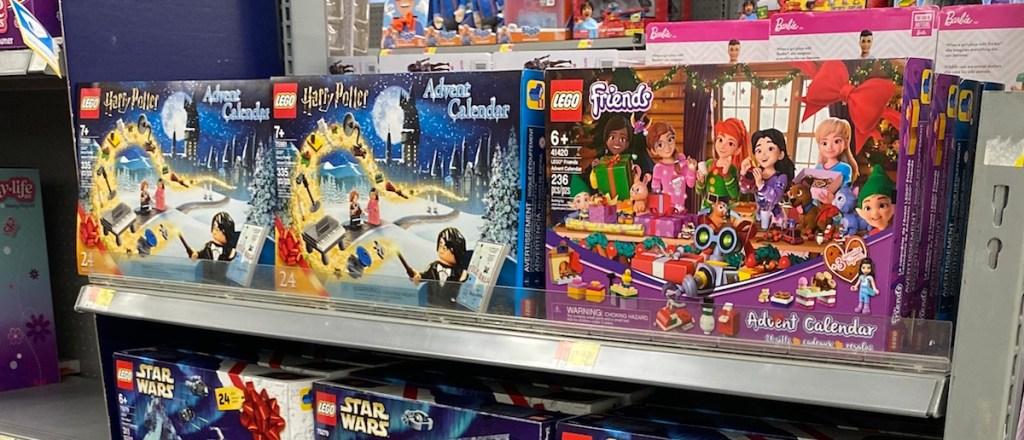 LEGO Advent Calendars on shelf at Walmart