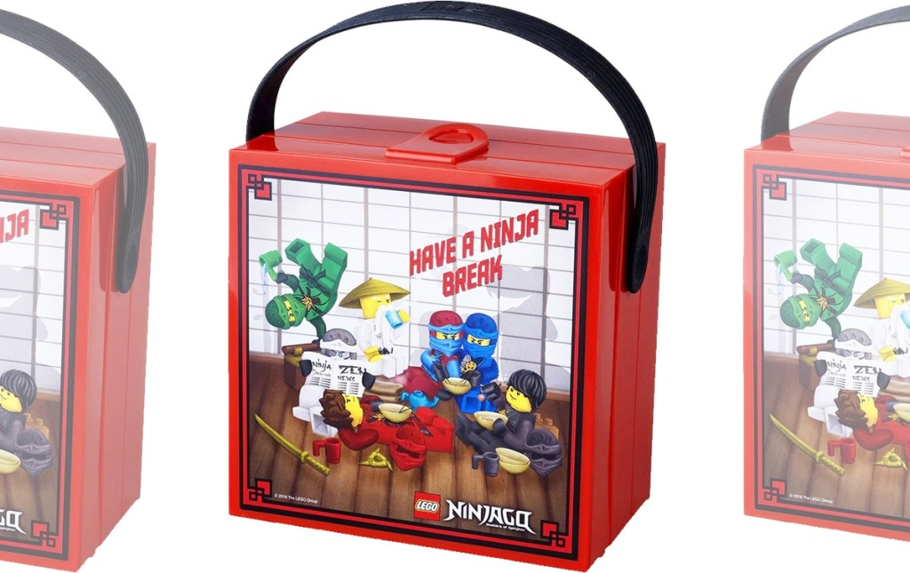red square LEGO Ninjago lunchbox with black carrying handle