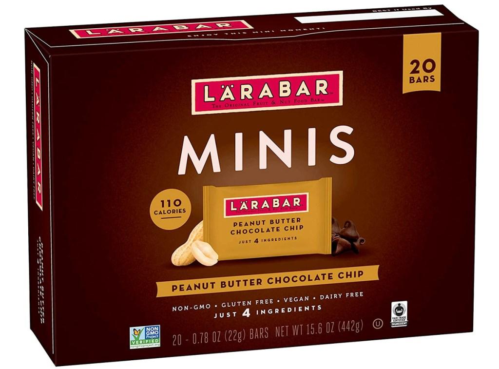brown box of Larabar Minis in peanut butter chocolate chip flavor