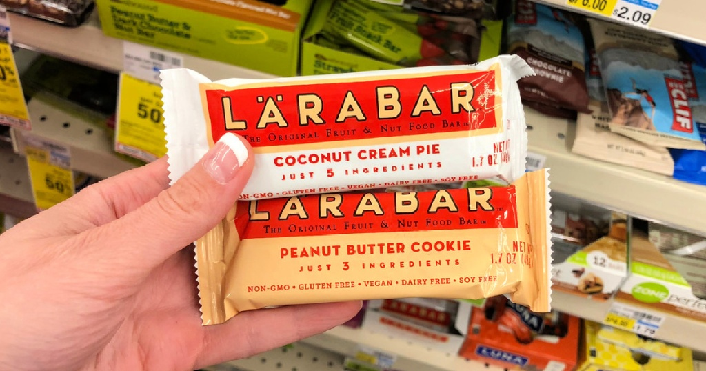 Larabar in person's hand at cvs