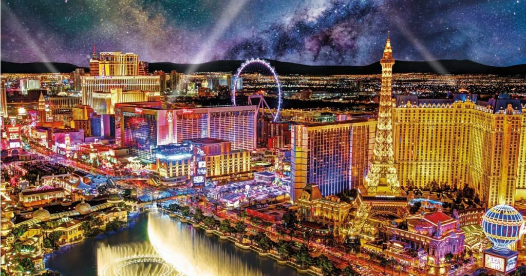 completed puzzle with Las Vegas scene