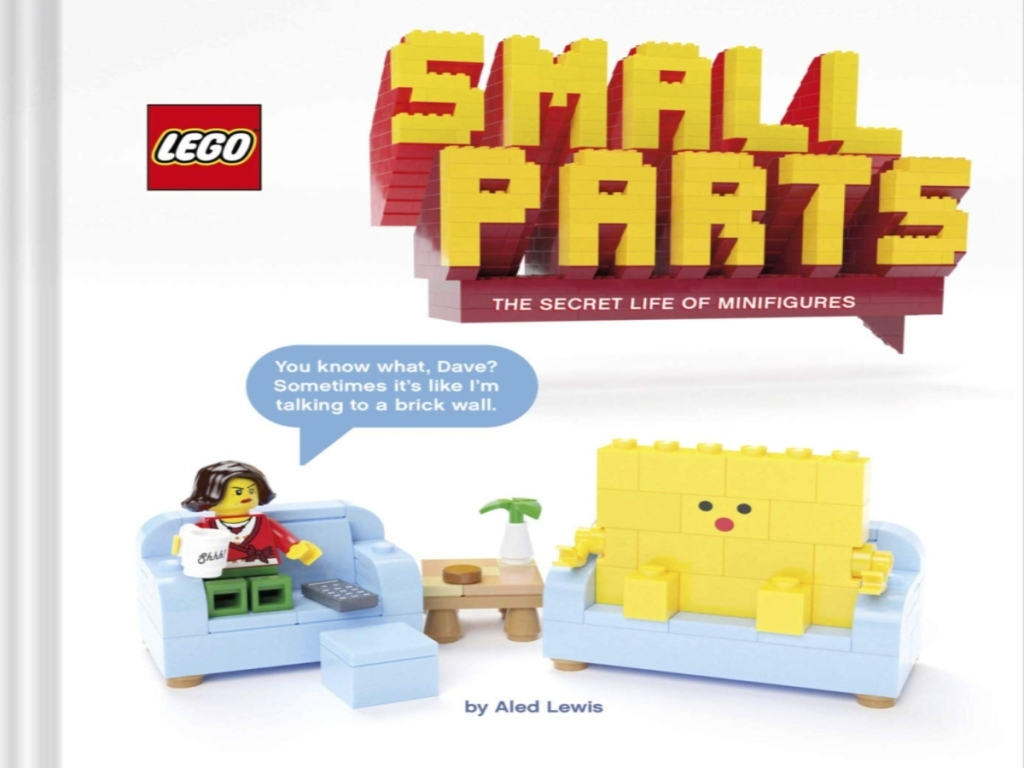 LEGO small parts book cover with lego scene and title in yellow LEGO letters