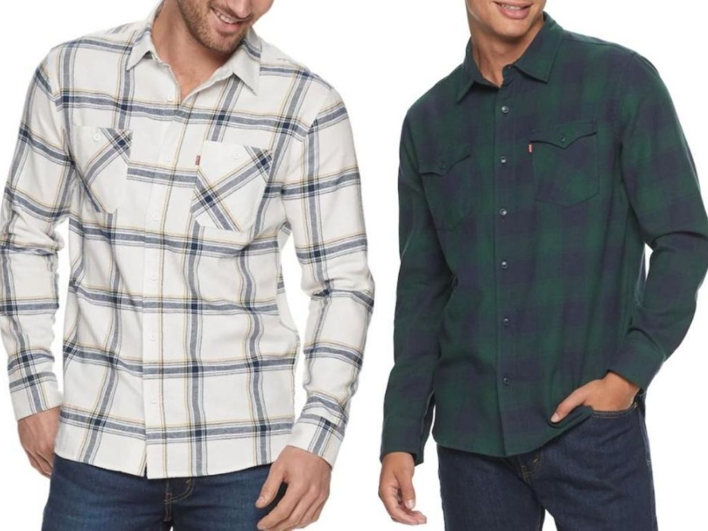 two men wearing flannel shirts