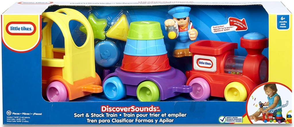 toy train and stack set in box