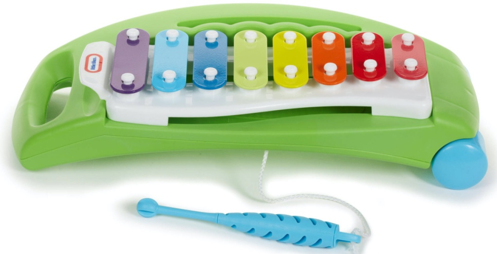 green xylophone toy and blue stick