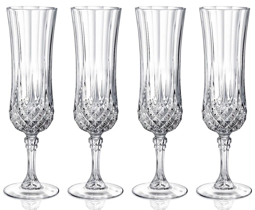 four pack of Longchamp Cristal D'Arques Flutes 4-Piece Set