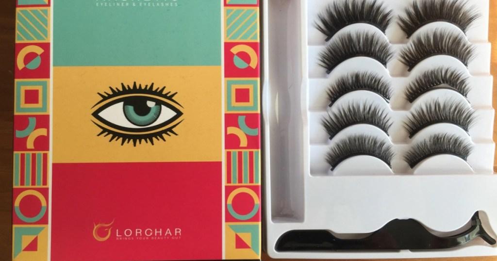 box set of Lorchar Magnetic Eyelashes 5-Pair Set with Eyeliner