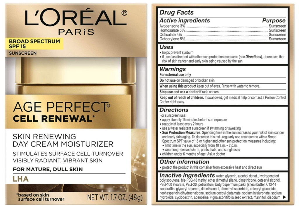 L'Oreal Age Perfect Cell Renewal Day Cream front of box and back of box