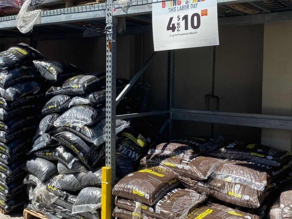 bags of mulch stacked up at store