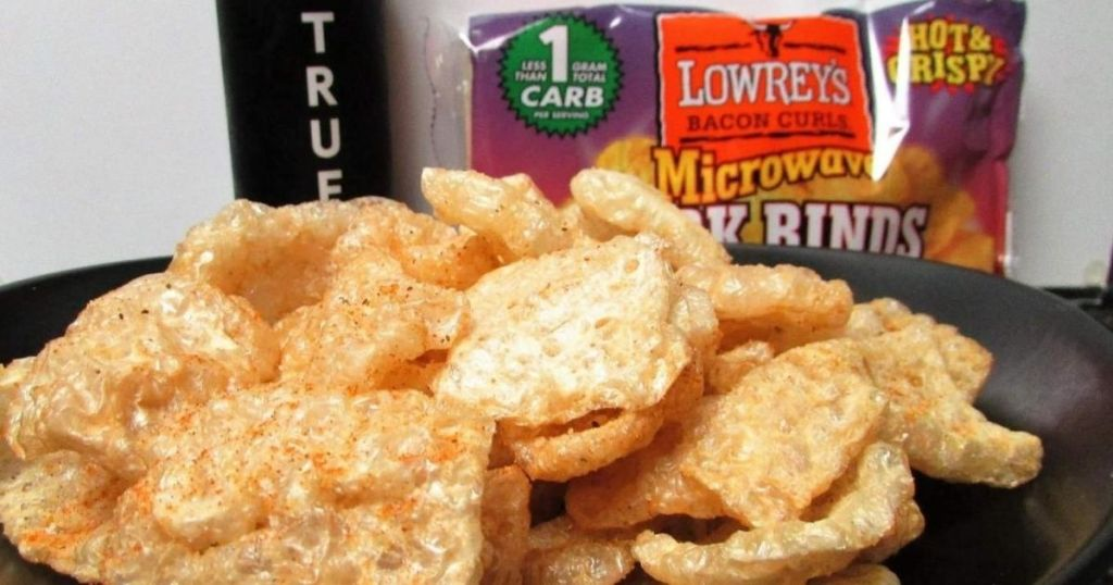 Plate of microwavable pork rinds