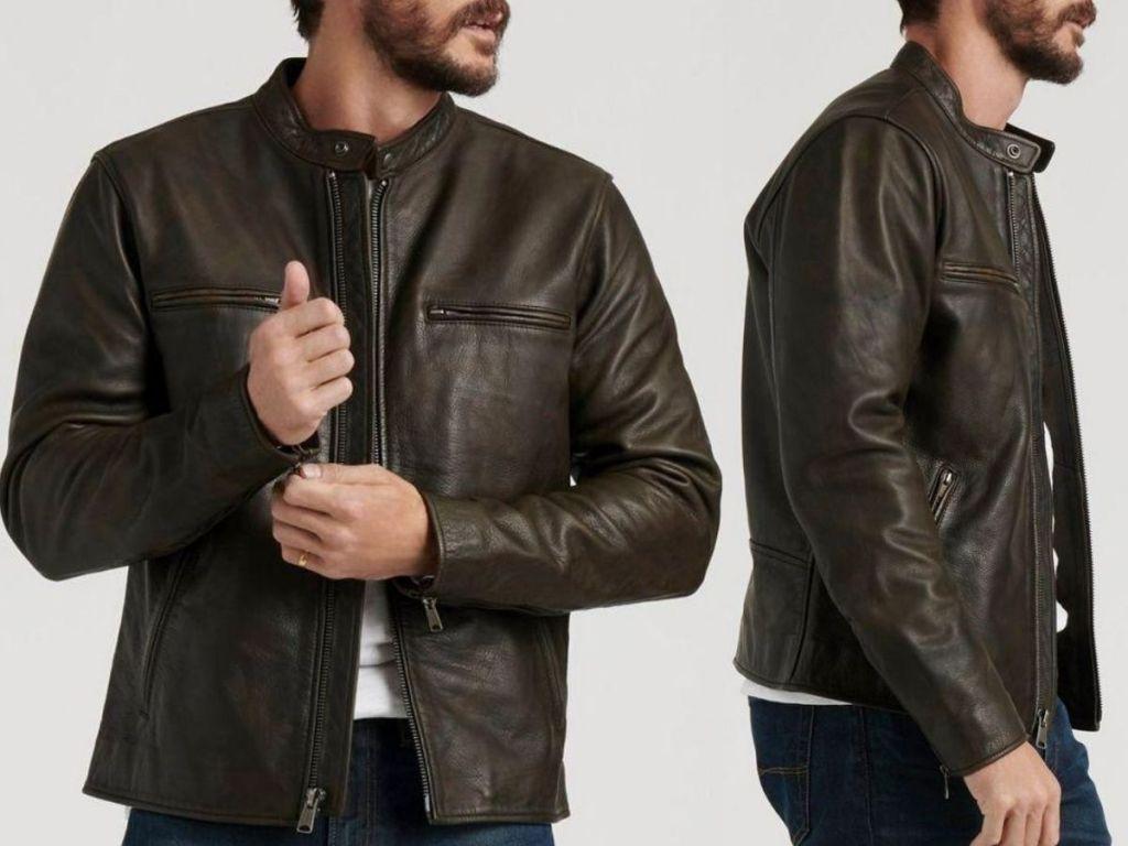 man wearing leather bomber jacket
