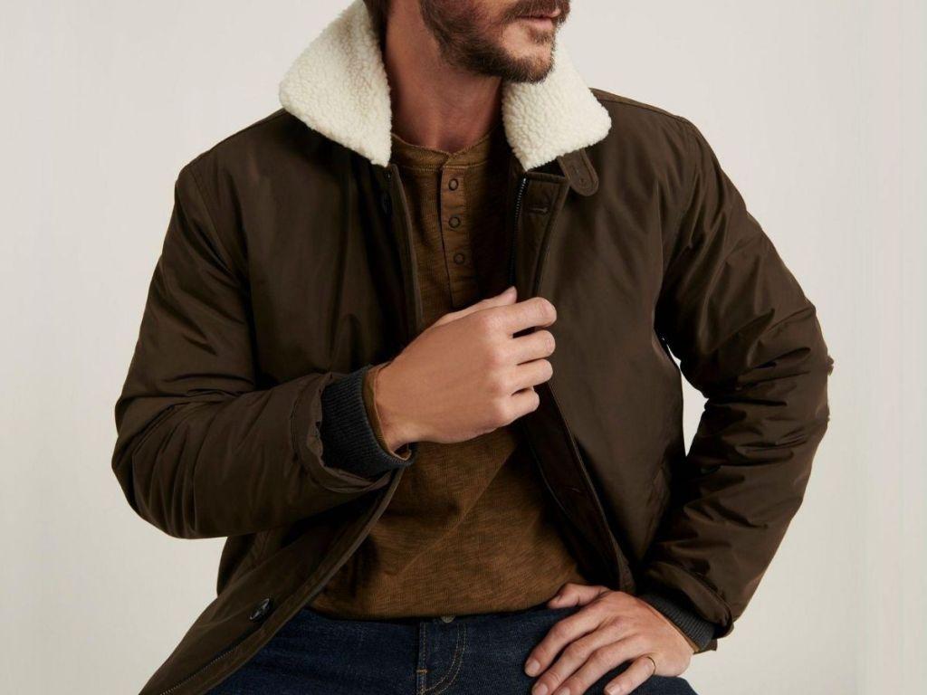 man wearing sherpa lined jacket