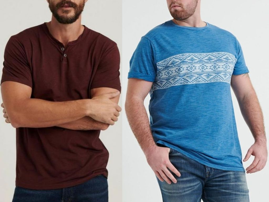 two men wearing t-shirts and jeans