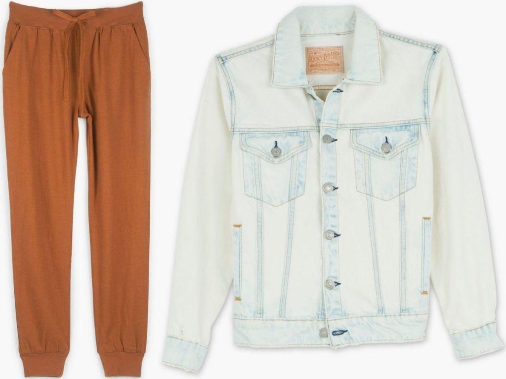 women's jogger pants and denim jacket