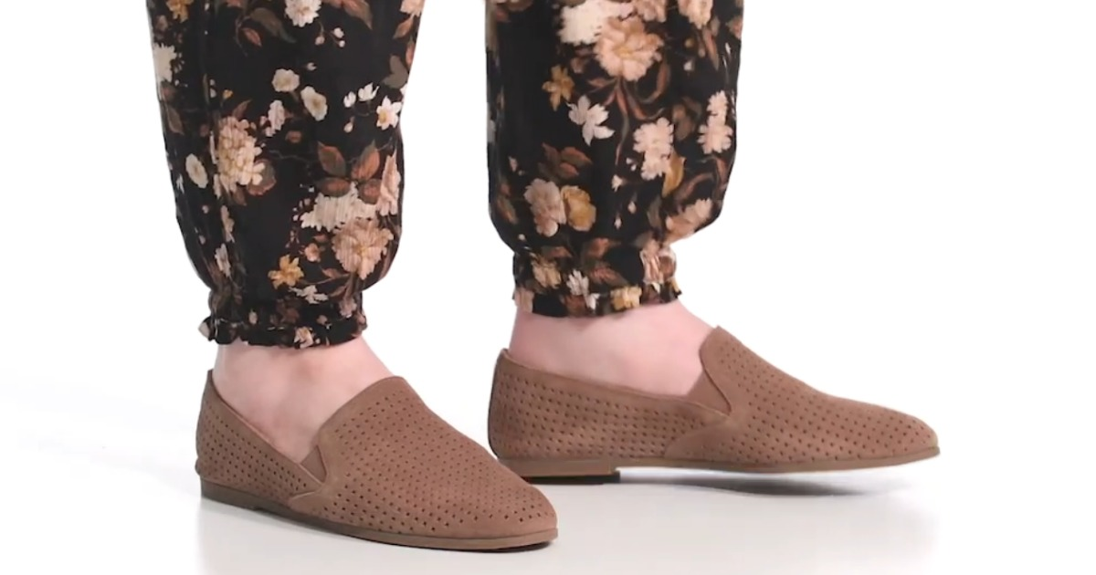 woman wearing Lucky brand loafers with floral bubble pants