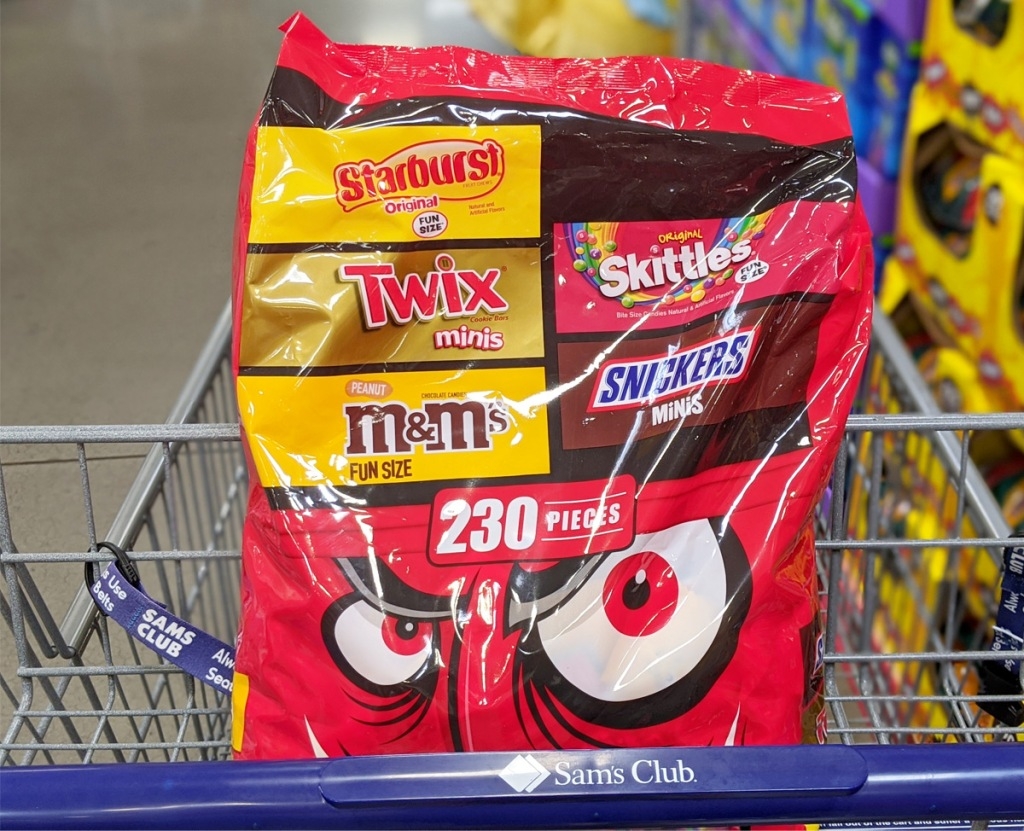 shopping cart with red variety bag of mars fun size halloween candies