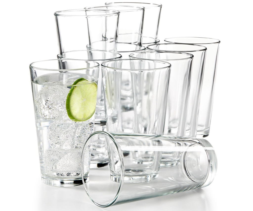 twelve large tumblers, one filled with water and lime